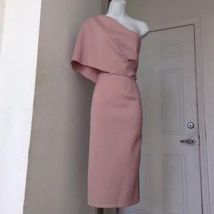 Asos Pink & Rose Gold One-Shoulder Midi Dress